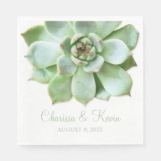 Lush Green Succulent Wedding or Bridal Shower Paper Napkin
