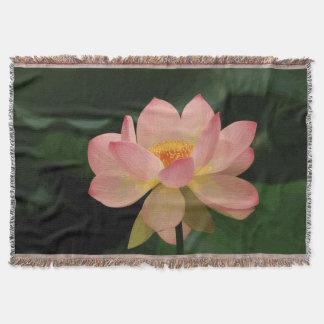 Lush Green Zen Garden Soft Pink Lotus Throw Blanket