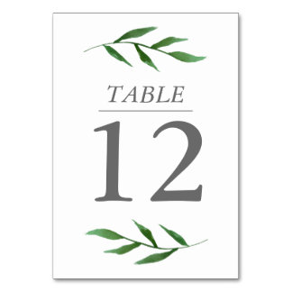 Lush Leaves Elegant Watercolor Table Number Card Table Cards