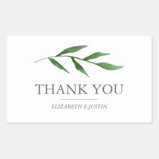 Lush Leaves Elegant Watercolor Thank You Favor Sticker
