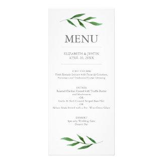 Lush Leaves Elegant Watercolor Wedding Menu Rack Card Template