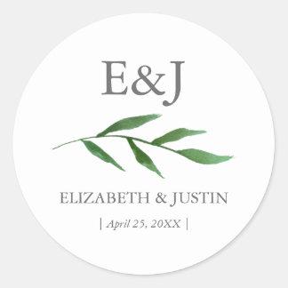 Lush Leaves Elegant Watercolor Wedding Sticker