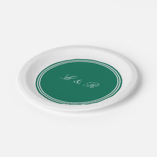 Lush Meadow Green with White Wedding Detail 7 Inch Paper Plate