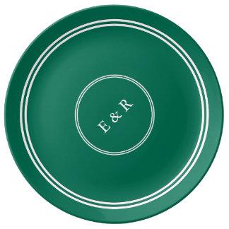 Lush Meadow Green with White Wedding Detail Porcelain Plates
