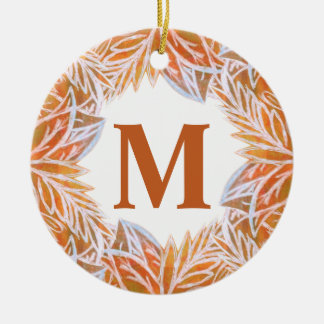 Lush of Autumn Leaves Monogram Ceramic Ornament