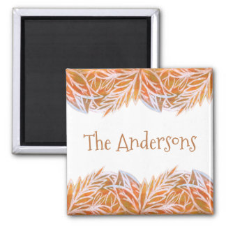 Lush of Autumn Leaves Personalized Square Magnet