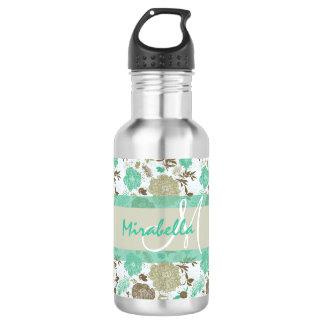 Lush pastel mint green, beige roses on white name 532 ml water bottle