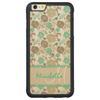 Lush pastel mint green, beige roses on white name carved maple iPhone 6 plus bumper case