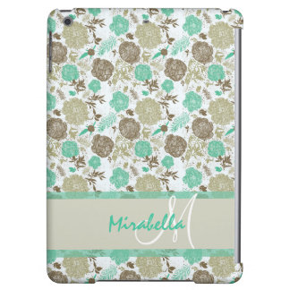 Lush pastel mint green, beige roses on white name case for iPad air