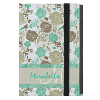 Lush pastel mint green, beige roses on white name covers for iPad mini