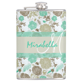 Lush pastel mint green, beige roses on white name hip flask