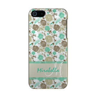 Lush pastel mint green, beige roses on white name incipio feather® shine iPhone 5 case