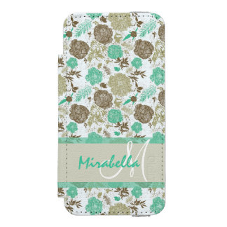 Lush pastel mint green, beige roses on white name incipio watson™ iPhone 5 wallet case