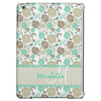 Lush pastel mint green, beige roses on white name iPad air cover