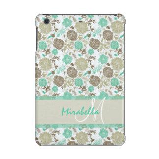 Lush pastel mint green, beige roses on white name iPad mini cases