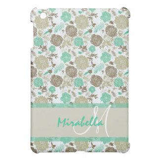 Lush pastel mint green, beige roses on white name iPad mini cover