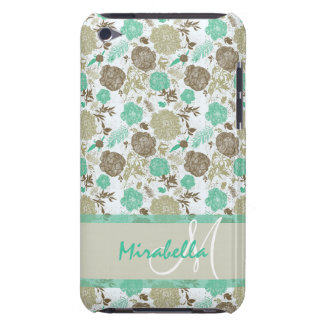 Lush pastel mint green, beige roses on white name iPod touch covers