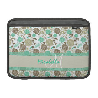 Lush pastel mint green, beige roses on white name MacBook air sleeves