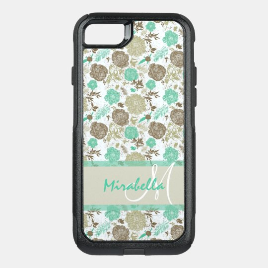 Lush pastel mint green, beige roses on white name OtterBox commuter iPhone 7 case