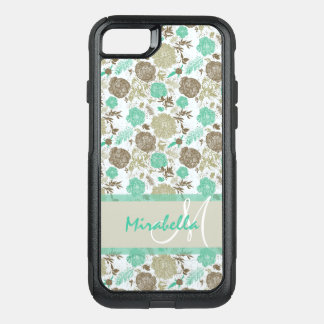 Lush pastel mint green, beige roses on white name OtterBox commuter iPhone 8/7 case