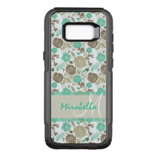 Lush pastel mint green, beige roses on white name OtterBox commuter samsung galaxy s8+ case