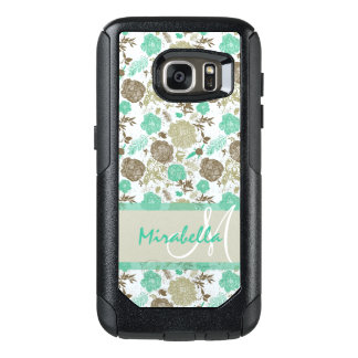 Lush pastel mint green, beige roses on white name OtterBox samsung galaxy s7 case