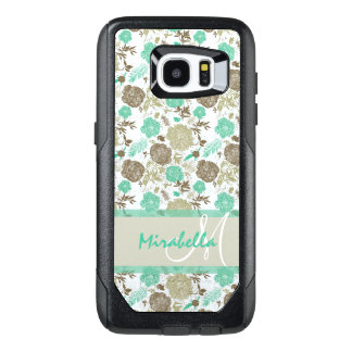Lush pastel mint green, beige roses on white name OtterBox samsung galaxy s7 edge case