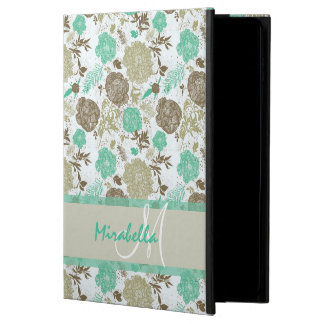 Lush pastel mint green, beige roses on white name powis iPad air 2 case