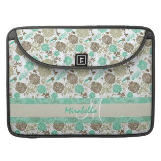 Lush pastel mint green, beige roses on white name sleeve for MacBooks