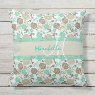 Lush pastel mint green, beige roses on white name throw pillow
