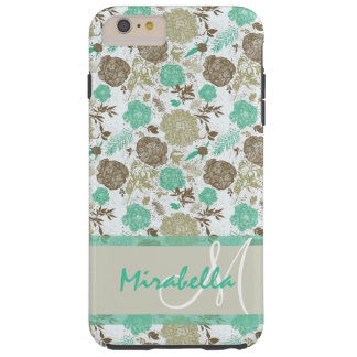 Lush pastel mint green, beige roses on white name tough iPhone 6 plus case