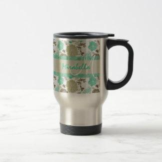 Lush pastel mint green, beige roses on white name travel mug