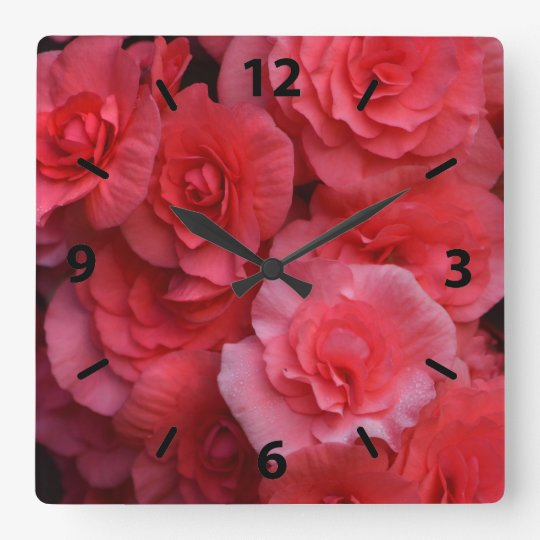 Lush Pink Double Begonia Square Wall Clock