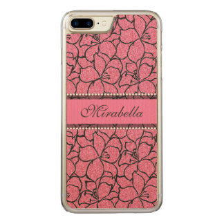 Lush Pink Lilies with black outline, pink glitter Carved iPhone 8 Plus/7 Plus Case