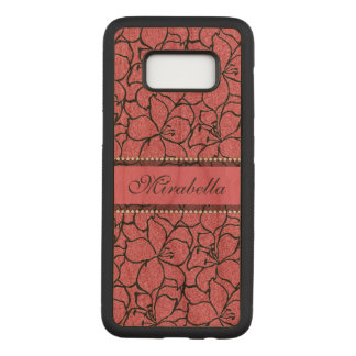 Lush Pink Lilies with black outline, pink glitter Carved Samsung Galaxy S8 Case
