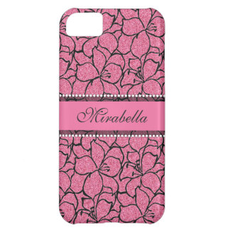 Lush Pink Lilies with black outline, pink glitter Case For iPhone 5C