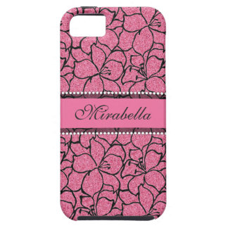 Lush Pink Lilies with black outline, pink glitter Case For The iPhone 5