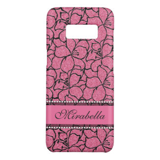 Lush Pink Lilies with black outline, pink glitter Case-Mate Samsung Galaxy S8 Case