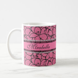 Lush Pink Lilies with black outline, pink glitter Coffee Mug