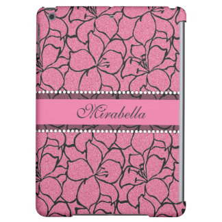 Lush Pink Lilies with black outline, pink glitter Cover For iPad Air