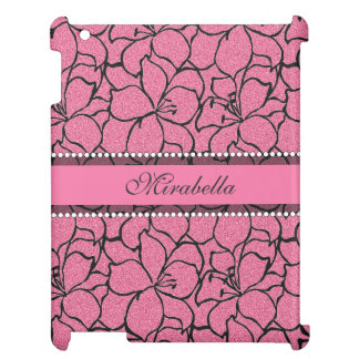Lush Pink Lilies with black outline, pink glitter Cover For The iPad