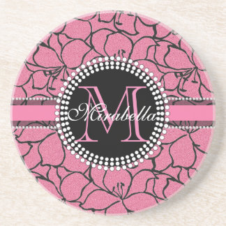 Lush Pink Lilies with black outline, pink glitter Drink Coaster