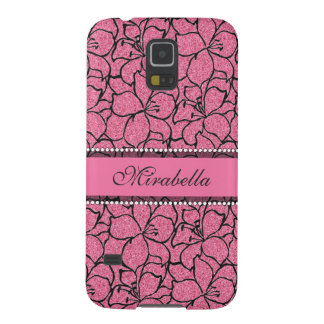 Lush Pink Lilies with black outline, pink glitter Galaxy S5 Case