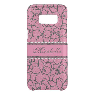 Lush Pink Lilies with black outline, pink glitter Get Uncommon Samsung Galaxy S8 Case