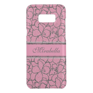 Lush Pink Lilies with black outline, pink glitter Get Uncommon Samsung Galaxy S8 Plus Case