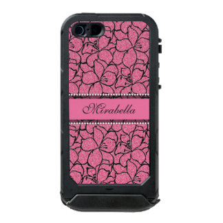 Lush Pink Lilies with black outline, pink glitter Incipio ATLAS ID™ iPhone 5 Case
