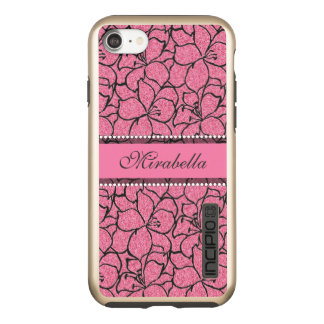 Lush Pink Lilies with black outline, pink glitter Incipio DualPro Shine iPhone 8/7 Case