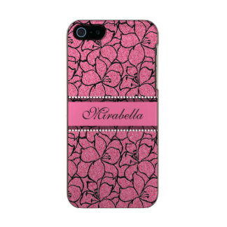 Lush Pink Lilies with black outline, pink glitter Incipio Feather® Shine iPhone 5 Case