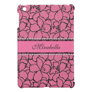Lush Pink Lilies with black outline, pink glitter iPad Mini Cover