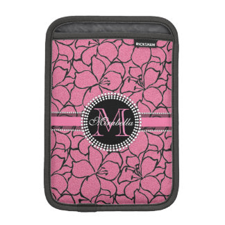 Lush Pink Lilies with black outline, pink glitter iPad Mini Sleeve